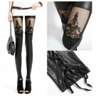 New trend Artificial PU Leather Lace Stitching Tights Leggings Pant