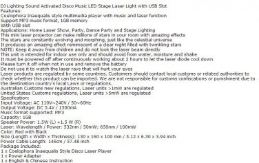 DJ Lighting Sound Activated Disco Music LED Stage Laser Light