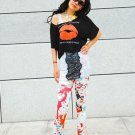 Euro Painter graffiti printing jeans look Leggings pants
