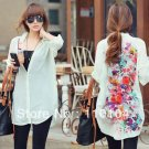 Flower print Chiffon shirtst long sleeve shirt  floral print long blouses loose