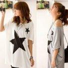 Loose Star Print Bat Short Sleeve T-shirt cotton