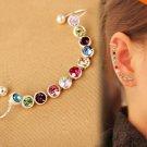 Design Elegance Crystal Earring Ear Clip Silver Color One pieceEar Cuff