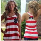 Red and white  Dot Bow Pocket Stripe Sleeveless Casual Summer Shirt Women Vest Tops S-XL