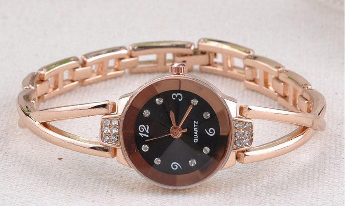 Slim Steel Band Royal Crystal Gold Watches Women Bracelet