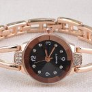 Slim Steel Band Royal Crystal Gold Watches Women Bracelet