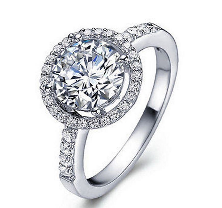 Women White Gold Plated Engagement Rings Zircon Fashion Handmade Jewelry Size 6 7 8 9 10