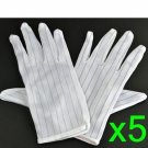 5 sets White color Stripe Anti Static Gloves for computer/electronic epack