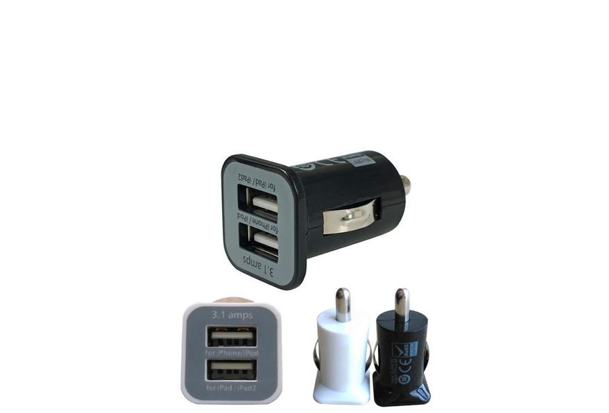 Set of 2 DUAL 2 PORT USB CAR CHARGER IPAD IPHONE I black One white