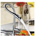 Flexible Chrome Brass Pull Out Spring Kitchen Faucet Swivel Spout