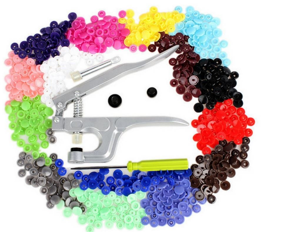 Stud For Clothes KAM Button Fastener Snap Pliers+150 set T5 Plastic Resin Press