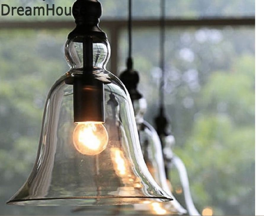 US ONLY Vintage Style Glass Transparent Ceiling Light Lamp Chandelier Dining Room Lighting