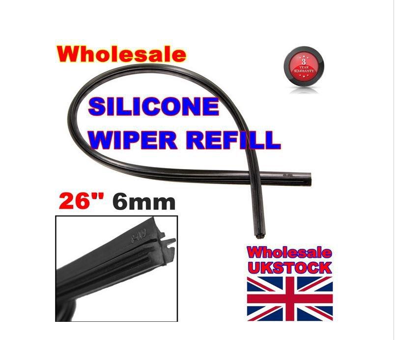 "2 X Universal Vehicle Frameless Replacement Rubber Wiper Blade Refill 26"" 6mm car wiper blade"