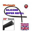 "2 X Universal Vehicle Frameless Replacement Rubber Wiper Blade Refill 26"" 6mm car wiper blade"