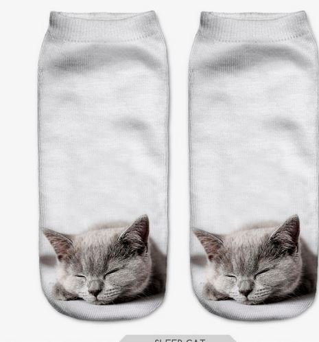 3D Sock Print Lovely Cat Polyester Contrast Color Meias Women
