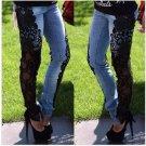 Black Lace Floral Splice Wigh Waist Jeans