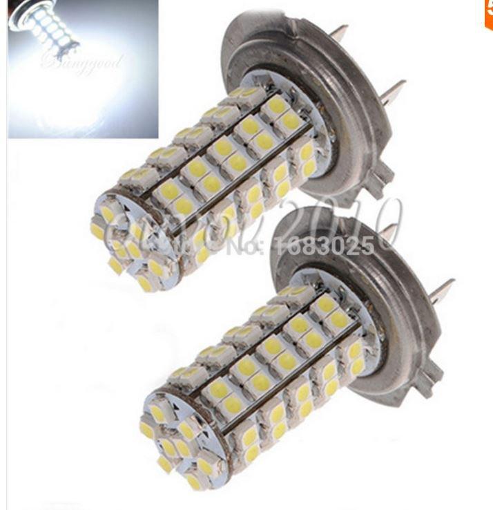 2X  H7 68 SMD 3528 1210 LED White Xenon Car Auto Vehicle Headlight Bulb Fog Head Lights Parking Lamp