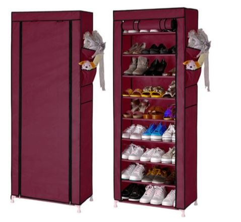 Shoe Cabinet Shoes Racks Storage 9 layers Wine