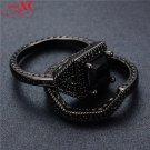 Unique design Black Sapphire Women Ring Set Black Gold Filled Finger Wedding Band