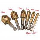 6x 5Flute Countersink Drill Bit Set 90 Degree Counter Sink