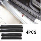 4Pc Black Car Door Plate Stickers Carbon Fiber Look Car Sticker Sill Scuff Cover
