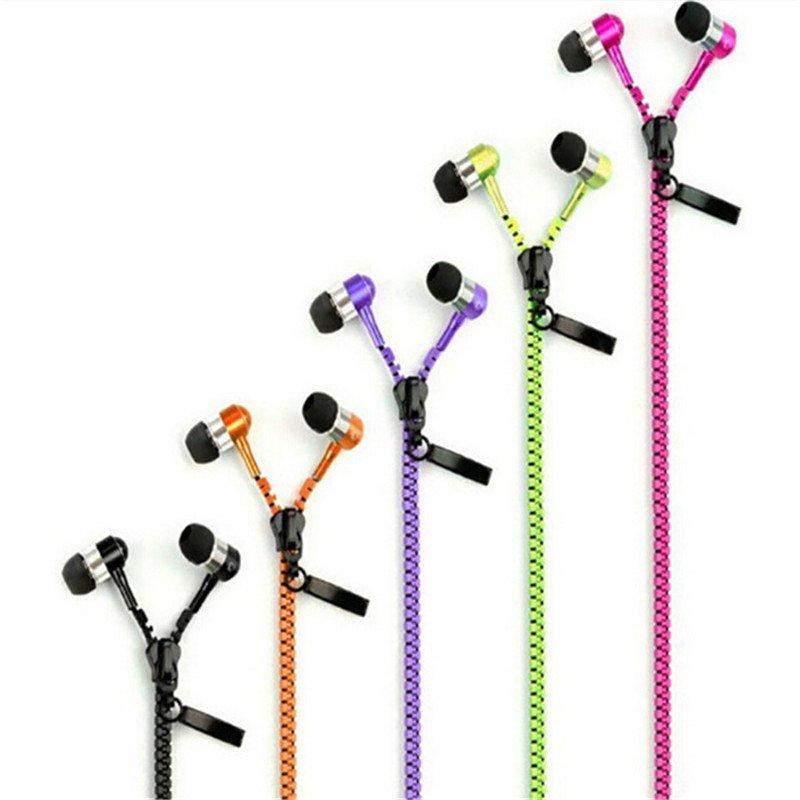Zipper Zipper Earbud Metal Earphones 3.5mm In-Ear Stereo Heads