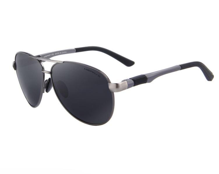 HD Polarized Glasses Men Brand Polarized Sunglasses Grey+ Black