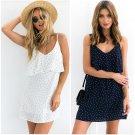 Off shoulder ruffle Dot summer dress women White strap chiffon beach dress Boho  dresses vestido