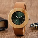 Green Face Quartz-watch Fashion Women's Bamboo Wood Watch Roman Numeral Casual Genuine Leather Band