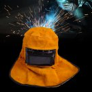 PORTABLE LEATHER HOOD WELDING HELMET MASK SOLAR AUTO Darkening Filter Lens Welder