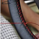 DIY Soft Fiber Leather braid on the steering-wheel of Car With Needle and Thread
