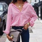 STRIPED LONG SLEEVE SHIRT TURN-DOWN COLLAR S TO 5XL Pink