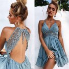 Blue V-neck Lace Beach Dress Spaghetti Strap Backless Sundress Casual Elegant Mini Party Dresses