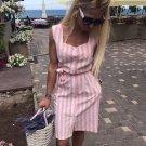 Stripe Casual Sleeveless Shirt Dress Square Collar Belt Pink