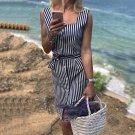 Stripe Casual Sleeveless Shirt Dress Square Collar Belt Navy