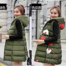 Plus size two-faced down cotton vest jacket M-3XL Green Army