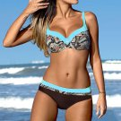 Swimwear Female Padded Bra beach wear Bathing Suit Blue