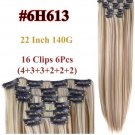 16clips Long Straight Synthetic Hair Extensions 22 in 140 gr 16 clips 6 pcs