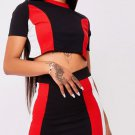 Side Stripe 2 Piece Set O-Collar Short Sleeve Top And Package Hip Skirt Ladies Casual Style Twopiece