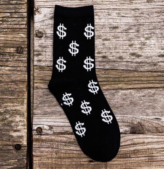 LUCKY MONEY DOLLAR MEN LONG SOCKS PURE COTTON2 pairs 1 black 1 white