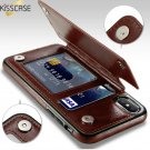 RETRO PU LEATHER CASE FOR iPHONE + CARD HOLDER 8 7 6 6S X 5