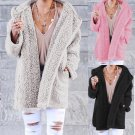 Soft Teddy Sherpa Fleece Hooded Jumper Hoody Jacket Grey Pink or Black