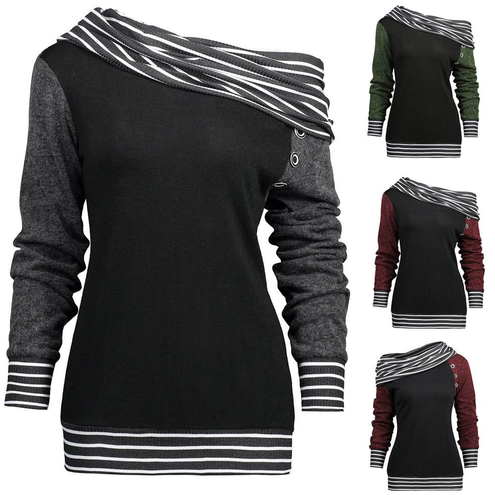 Plus Size  Sweatshirts Solid Color Skew Neck Long Sleeve Striped Patchwork Button Sweatshirt