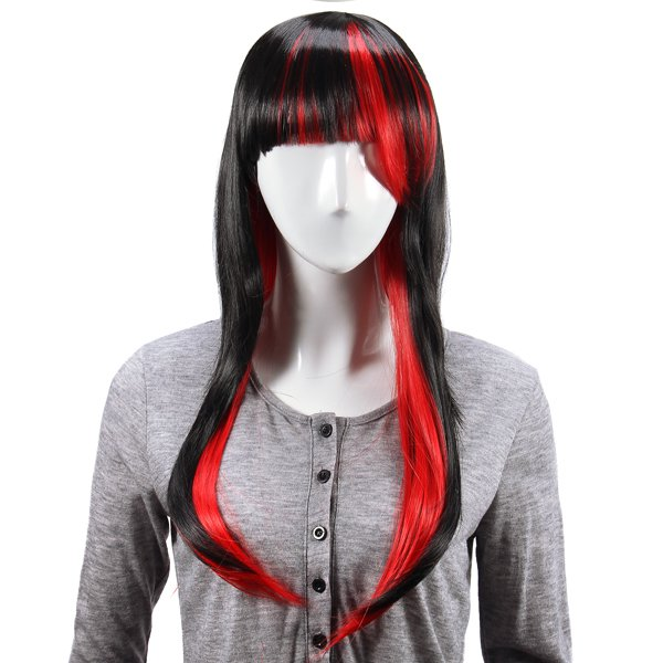 Black Red Layered Wig Synthetic Hair Long Straight Women Wigs Cosplay Party 70cm