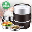 2L 3 Layer Portable Lunch Box Mini Electric Rice Cooker Steamer Meal Thermal Heating Automatic