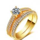 Bridal Wedding Ring Set Fashion 925 Silver Filled Jewelry Promise CZ Stone