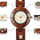 Wood Watches Japanese Style Unique Quartz Wristwatch with Red Wood Band Watches