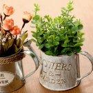 Iron Flower Pot Retro Bucket Flower Vase Garden Plant