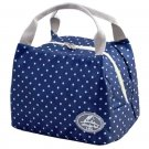 navy white dot Insulated Cold Canvas Stripe Picnic Carry Case Thermal Portable Lunch Bag