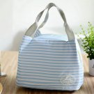 Striped Light blue Insulated Cold Canvas Stripe Picnic Carry Case Thermal Portable Lunch Bag