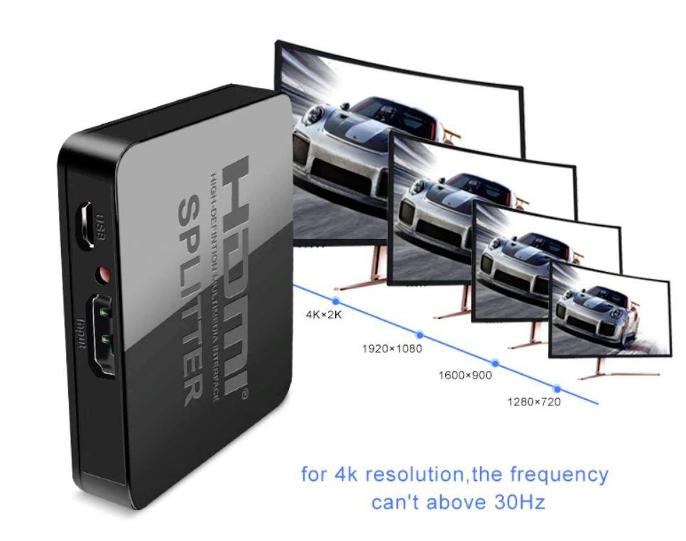 Power Signal Amplifier 4K HDMI Splitter For HDTV DVD PS3 Xbox